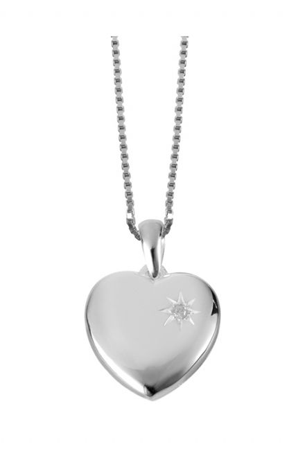 Diamond Set Sterling Silver Locket